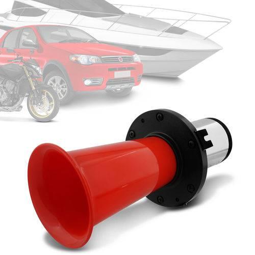 Buzina Automotiva Eletropneumática Uga Uga Universal com Compressor Corneta Vermelha 12V