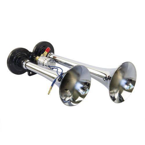 Buzina Eletropneumática 2 Cornetas Vetor Vt044 24V Universal Cromada
