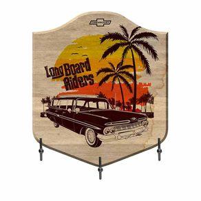 Cabideiro de Madeira Beach Long Board Riders Colorido GM Chevrolet