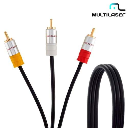 Cabo Áudio e Vídeo 3RCA M X 3RCA M 1,8m Wi294 - Multilaser