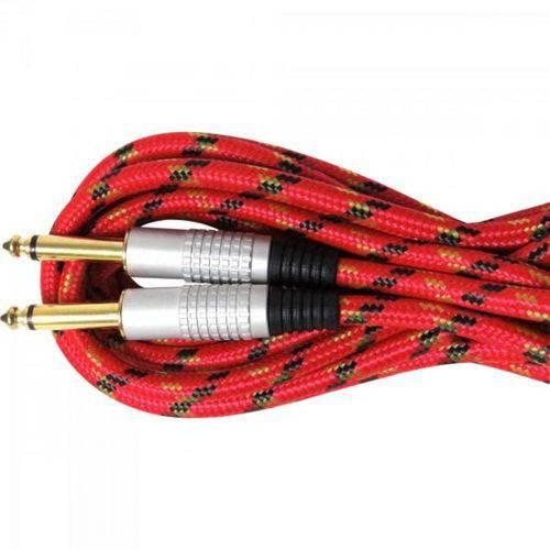 Cabo de Guitarra Profissional P10xP10 5 Metros Têxtil Vermelho - Genérico