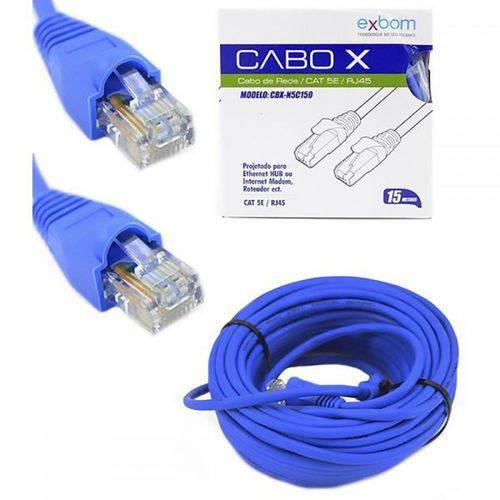Cabo de Rede Patch Cord 15 Metros Cat5e Azul Exbom Cbxn5c150