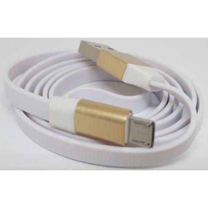 Cabo Flat Micro USB com Acabamento Metálico Dourado - Idea