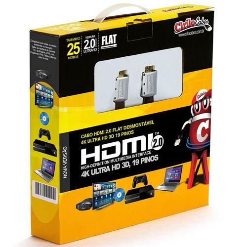 Cabo HDMI 2.0 FLAT Desmontável,19 Pinos, 4K, Ultra HD, 3D - 25 Metros