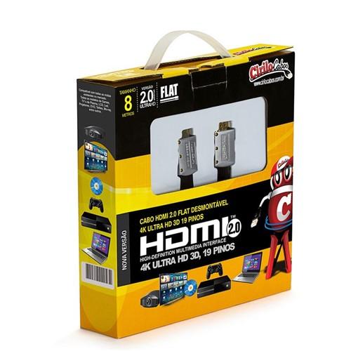 Cabo HDMI 2.0 FLAT Desmontável,19 Pinos, 4K, Ultra HD, 3D - 8 Metros