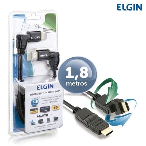 Cabo HDMI 1.4 1080P 4K X 2K Ethernet 1,8M 360° - Elgin