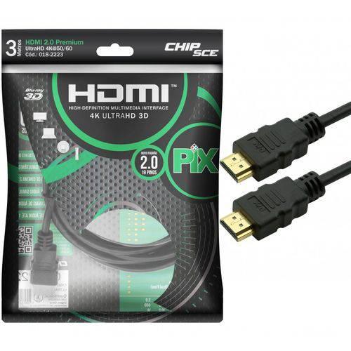 Cabo Hdmi 3 Metros 2.0 19 Pinos Ethernet 4k Ultra HD 3D