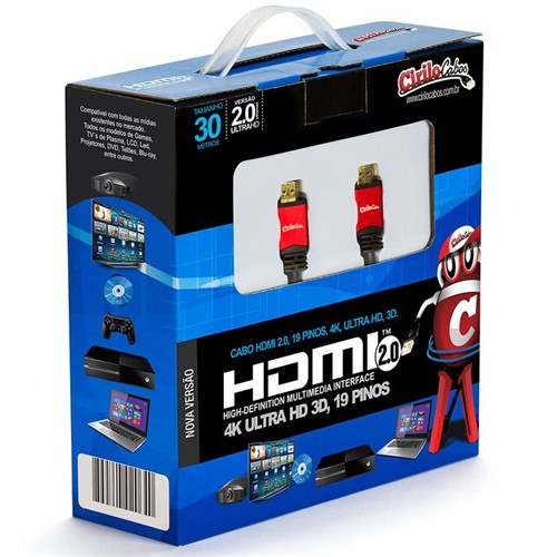 Cabo HDMI Versão 2.0, 19 Pinos, 4K, Ultra HD, 3D - 30 Metros