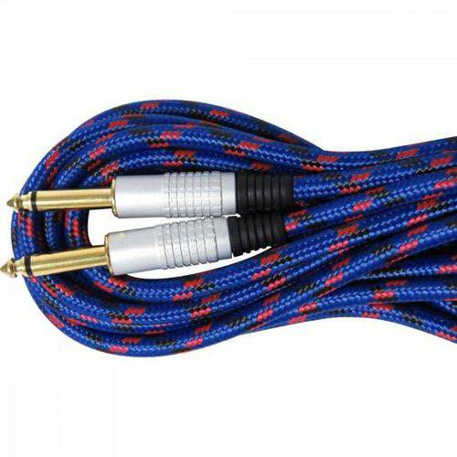 Cabo para Guitarra P10xP10 5 Metros Azul Têxtil CBGU0006 - Storm