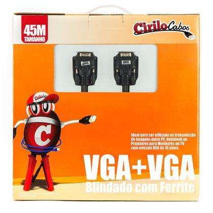Cabo VGA Blindado com Ferrite, 45 Metros - Cirilo Cabos