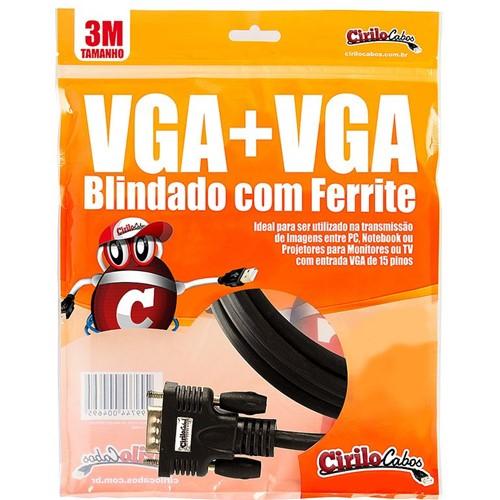 Cabo VGA Blindado com Ferrite, 3 Metros - Cirilo Cabos