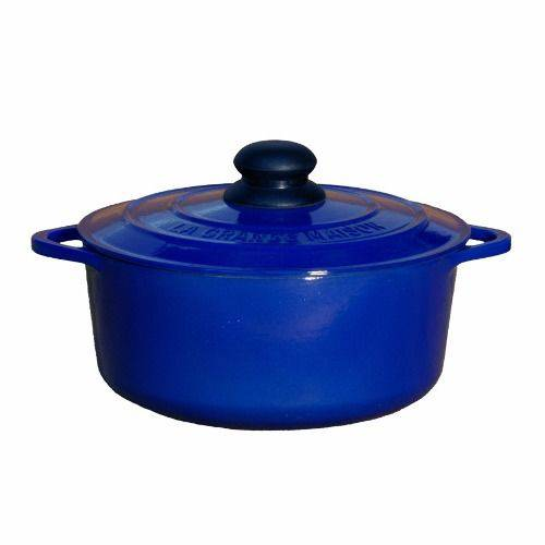 Caçarola Ferro Esmaltado Azul Cobalto com Tampa Ø 14 X 7 Cm 750 Ml