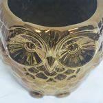 Cachepô Coruja em Cerâmica - 12x12,5 Cm - Little Owl - Cor Cobre
