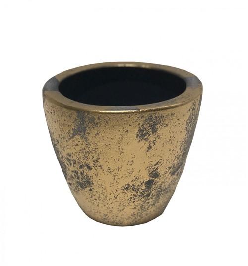 Cachepot Cerâmica Dourado 15cm - Occa Moderna