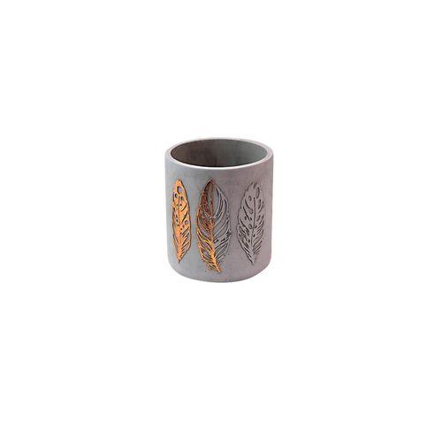 Cachepot Cimento Folha Cinza/dourado 12x14cm