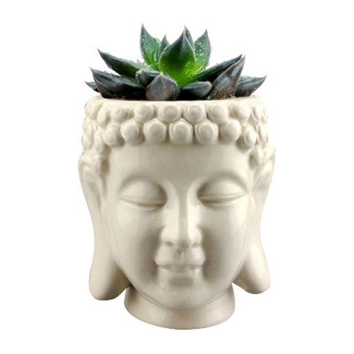 Cachepot de Cerâmica Branco Budhas Head Urban