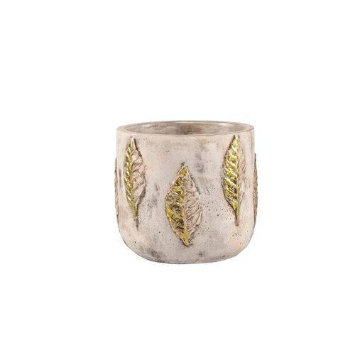 Cachepot em Cimento Dourado