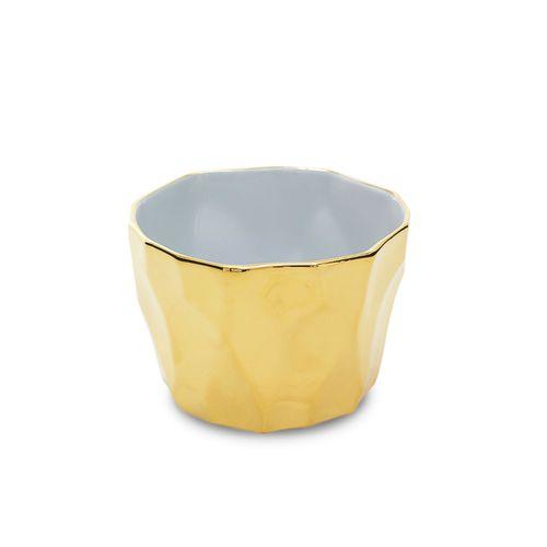 Cachepot em Porcelana Dourado Silex 10cm