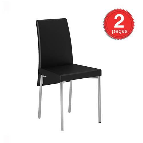 Cadeira-306-Cromada-02 Unidades-Couríssimo-Preto-Carraro