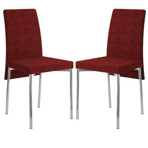 Cadeira 306 Cromada 02 Unidades Tecido Vermelho Floral Carraro