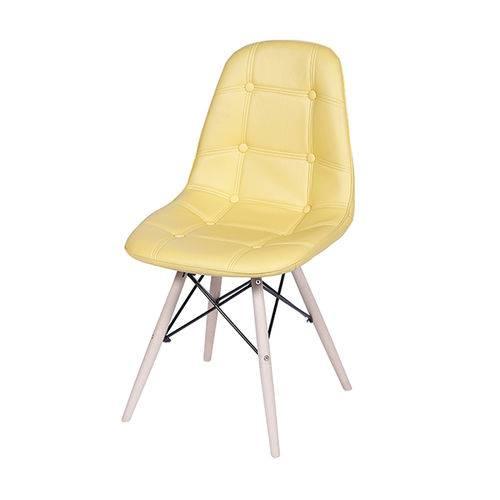 Cadeira 1110 Amarela Botonê Pé de Madeira