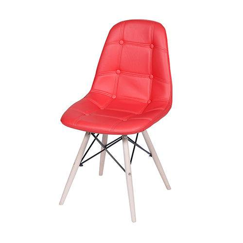 Cadeira 1110 Vermelha Botonê Pé de Madeira