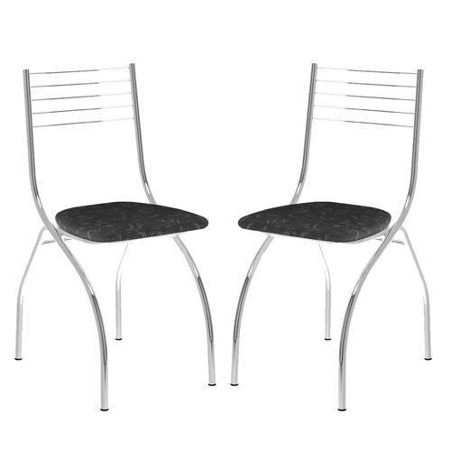 Cadeira 146 Cromada 02 Unidades Fantasia Preto Carraro