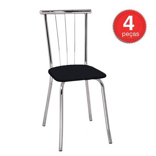 Cadeira 154 Cromada 04 Unidades Napa/Preta Carraro