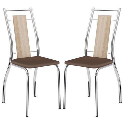 Cadeira 1720 Cromada 02 Unidades Anis/Cacau Carraro