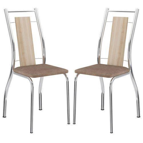 Cadeira 1720 Cromada 02 Unidades Anis/Camurça Conhaque Carraro