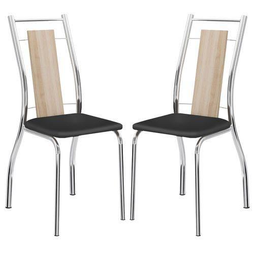 Cadeira 1720 Cromada 02 Unidades Anis/Preto Carraro
