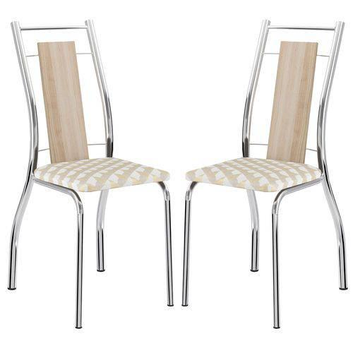 Cadeira 1720 Cromada 02 Unidades Anis/Retrô Metalizado Carraro