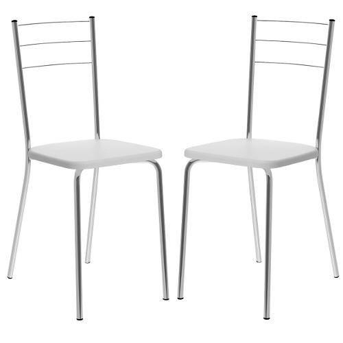 Cadeira 1703 Cromada 02 Unidades Branca Carraro