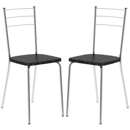 Cadeira 1703 Cromada 02 Unidades Fantasia Preto Carraro