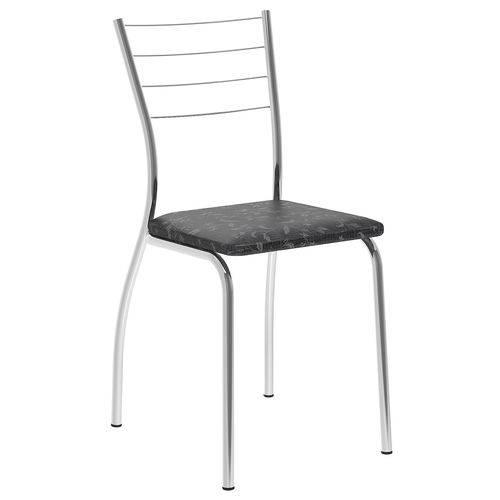 Cadeira 1700 Cromada 02 Unidades Fantasia Preto Carraro