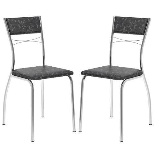 Cadeira 1701 Cromada 02 Unidades Fantasia Preto Carraro