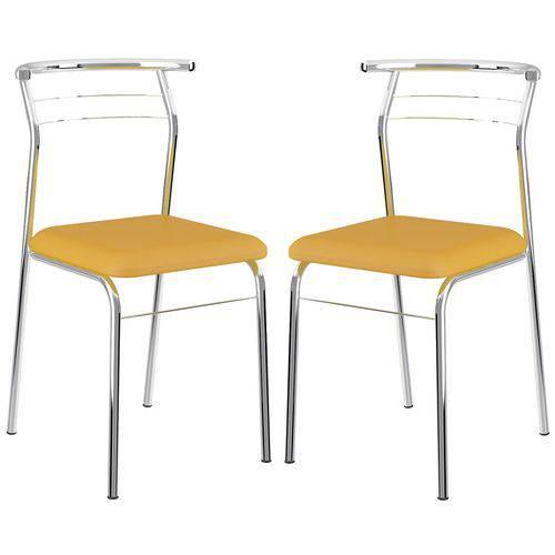 Cadeira 1708 Cromada 02 Unidades Amarela Carraro