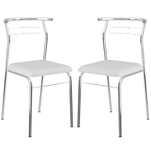 Cadeira 1708 Cromada 02 Unidades Branca Carraro