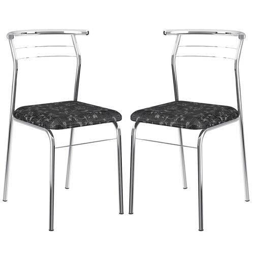 Cadeira 1708 Cromada 02 Unidades Fantasia Preto Carraro
