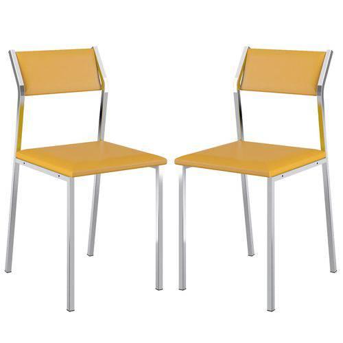 Cadeira 1709 Cromada 02 Unidades Amarela Carraro