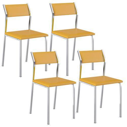 Cadeira 1709 Cromada 04 Unidades Amarela Carraro