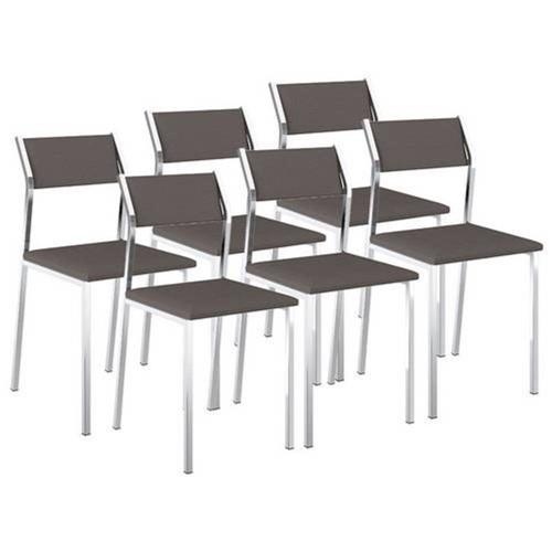 Cadeira 1709 Cromada 06 Unidades Napa/Cacau Carraro