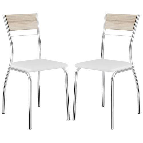 Cadeira 1721 Cromada 02 Unidades Anis/Branco Carraro