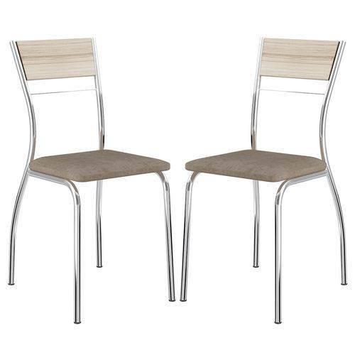 Cadeira 1721 Cromada 02 Unidades Anis/Camurça Conhaque Carraro