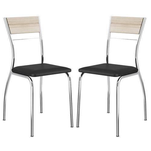 Cadeira 1721 Cromada 02 Unidades Anis/Preto Carraro