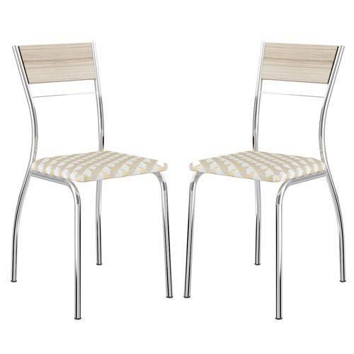 Cadeira 1721 Cromada 02 Unidades Anis/Retrô Metalizado Carraro
