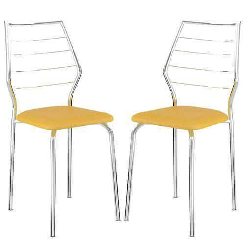 Cadeira 1716 Cromada 02 Unidades Amarela Carraro