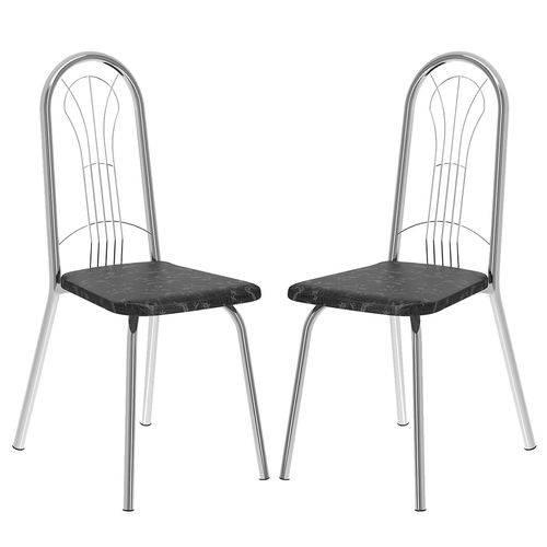 Cadeira 182 Cromada 02 Unidades Fantasia Preto Carraro