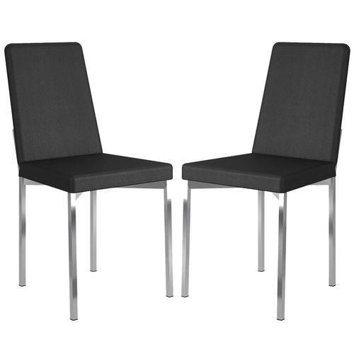 Cadeira 399 Cromada 02 Unidades Couríssimo Preta Carraro