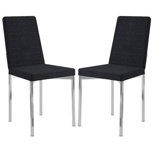 Cadeira 399 Cromada 02 Unidades Tecido Black Listrado Carraro